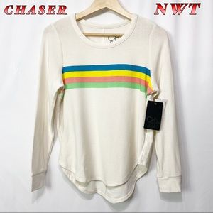 NWT-Chaser Off White Striped Long sleeve Tee M
